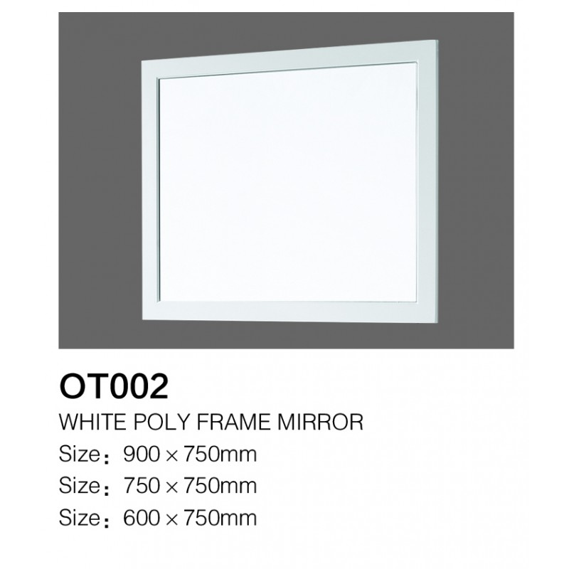 OT-002 White Poly Frame Mirror